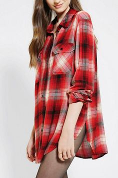 NEW URBAN OUTFITTERS BDG RED WATERFALL TUNIC BUTTON DOWN SHIRT WOMEN'S EX SMALL #BDG #ButtonDownShirt