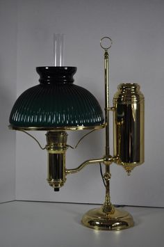 "Victorian Edward Miller Vestal Large Student Oil Lamp 10""  shade electrified"