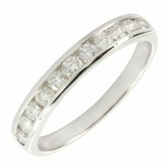 9ct white gold 50pts of diamond half eternity ring