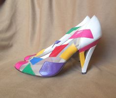 Vintage 80's High Heels, Size 8.5, Bright Color Block, White, Hot Pink, Green, Purple, Yellow on Etsy, £28.36