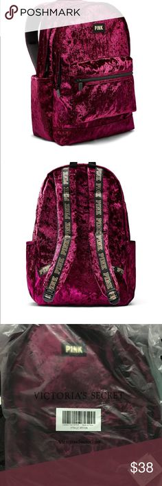 Victoria Secret PINK velour backpack Victoria Secret PINK Velour backpack is Brand new with tag in package and burgundy color, full size backpack PINK Victoria's Secret Bags Backpacks