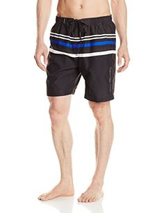 Calvin Klein Mens Microfiber Striped Volley Swim Trunk Matte Steel Multi XLarge * Find similar swimwear by clicking the image