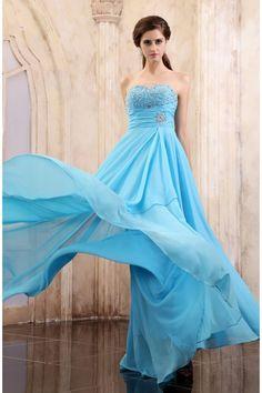 Blau Chiffon Herz Ausschnitt Abiballkleider Bodenlang Günstig $204.99 Abendkleider für Hochzeit