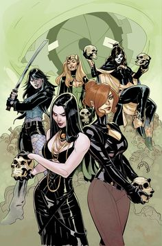 The cover art to X-Men featuring the SISTERHOOD - Typhoid Mary Amora the Enchantress Lady Deathstrike Madelyne Pryor Selene Comic is out now from Ma. X-MEN Cover Comic Book Artists, Comic Artist, Comic Books Art, X Men, Amora The Enchantress, Female Avengers, Lady Deathstrike, Female Villains, Comic Art Community