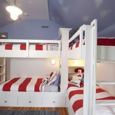 instead of drawers on the facing bunk...a trundle!  Bunk Beds Nautical Boys Kids Cottage Lak Design, Pictures, Remodel, Decor and Ideas  Houzz