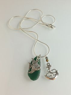 "24"" length chain, green quartz slab, pewter with SS overlay chain & charm, Swarovski crystal"