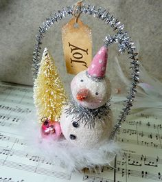 Pink - Cottage Style Glittery Snowman Cup with Bottle Brush Tree Christmas Folk Art Ornament via Etsy