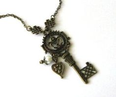Antiqued Bronze Key Necklace Jewelry With Heart Charm And White Glass Pearl | Luulla