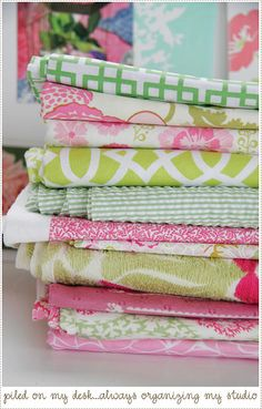 pink and green floral and geometric fabrics - wish I had these in my stash - would be whipping up some seriously gorgeous cushions!
