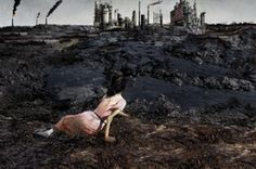 """British art collective Kennardphillipps have reimagined the bucolic US artwork """"Christina's World"""" by Andrew Wyeth to show how it would look after an oil spill, as part of a Greenpeace video campaign against Shell's exploration of the Arctic."""