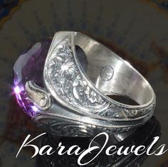 925 Sterling Silver Men's Ring with color change Alexandrite - Russian beauty #KaraJewels #Alexandrite #mensring