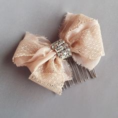 Blush Antique Lace Rhinestone Bow Hair Comb by EmiciBridal on Etsy, $55.00