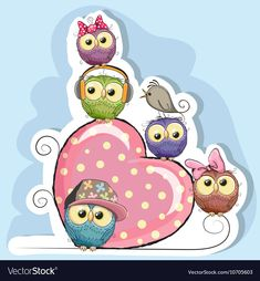 Vector pink hearts and owls, Pink Heart, Owl, Cartoon Owl PNG and Vector Owl Cartoon, Cute Cartoon, Cartoon Heart, Owl Vector, Vector Free, Vector Clipart, Owl Png, Owl Wallpaper, Owl Bird