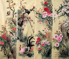 Four Screens of Flowers and Birds,34cm x 120cm(13〃 x 47〃),2581009-z
