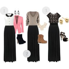 Black Maxi Skirt 3 Ways (substitute with a black high-low)
