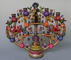 "Mexican Puebla ceramic Day of Dead tree of life candelabra CASTILLO 17 1/4"" tall"