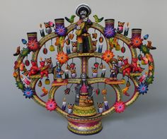 "Mexican Puebla ceramic Day of Dead tree of life candelabra CASTILLO 17 1/4"" tall"