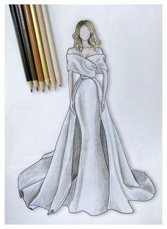 Dress Design Drawing, Dress Design Sketches, Fashion Design Sketchbook, Fashion Design Drawings, Clothes Design Drawing, Wedding Dress Sketches, Vintage Fashion Sketches, Wedding Dress Illustrations, Wedding Dresses
