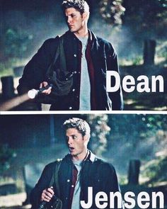 Dean Coolchester and Jensen Shockles Supernatural Bloopers, Supernatural Tumblr, Supernatural Tattoo, Supernatural Imagines, Supernatural Wallpaper, Supernatural Destiel, Archangels Supernatural, Jensen Ackles, Familia Winchester