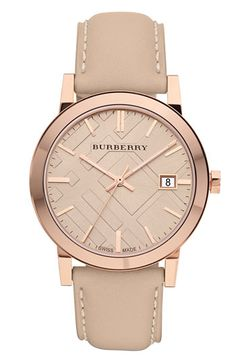 I love nude colors! Burberry Timepieces Check Stamped Round Dial Watch | Nordstrom