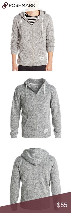 Quiksilver Men's Keller Zip Fleece Hooded The nuts and bolts Zip polar fleece hoodie Polyester fabric Mid-weight material Brushed cotton-polyester Natural round drawcords Quiksilver metal eyelets Fabric cuffs & hem in the same fabric as the body Fabric hood lining Tonal coil zip with metal puller Woven Quiksilver at pouch pocket Quiksilver Sweaters Zip Up