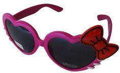 Sanrio Hello Kitty Meow Harts Style Designer Inspired Wayfarer Sunglasses - Pink Frame w/ Red Bow