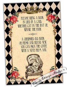 New to CupidDesigns on Etsy: Alice in wonderland Bring a book insert card Baby shower stationery Onederland shabby chic Red and black first birthday stationary (35.00 USD)
