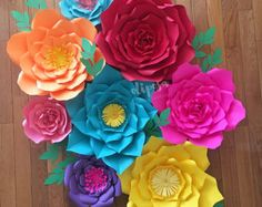 8 pc Giant Paper Flowers, Fiesta Theme, Frida Kahlo, Mexican Theme
