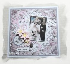 Bibbi's: Hvitt, grått, rosa bryllupskort.