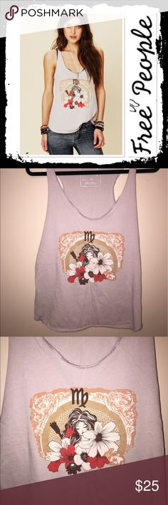 NWOT Free People Virgo horoscope  tank Never worn Free People We the Free taupe tank top in size M Free People Tops Tank Tops