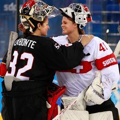 Goaltenders Charline Labonté (Canada) and Florence Schelling (Switzerland) share an Olympic embrace post-game in Sochi. Women's Hockey, Hockey Girls, Olympic Committee, Badass Women, Winter Olympics, Florence, Canada, Switzerland, Sports