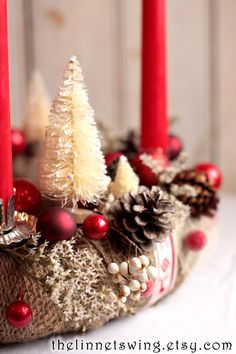 Alpine Advent Wreath - Christmas Wreath - Advent Candle Wreath - Holiday Table Decor - Yule by TheLinnetsWing on Etsy https://www.etsy.com/listing/168478744/alpine-advent-wreath-christmas-wreath