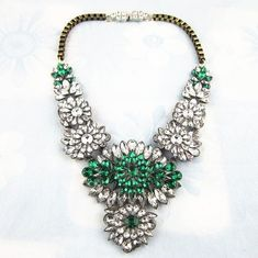 Crew Rhinestone Flower Lattice Bib Statement Necklace **gorgeous** Orders Are Welcome. Jewelry & Watches Spirited **rare** J