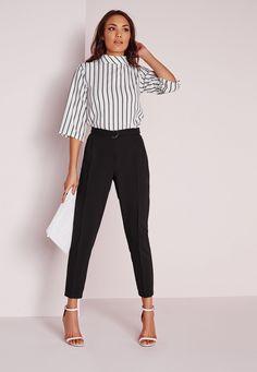 Missguided - Belted High Waist Cigarette Pants Black