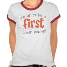 Proud First Grade Teacher Ladies Ringer T-Shirt  Click on photo to purchase. Check out all current coupon offers and save! http://www.zazzle.com/coupons?rf=238785193994622463&tc=pin