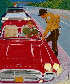 Corvette - illustration by Ben Denison, 1961