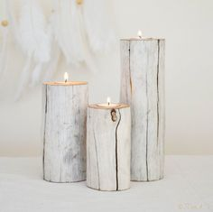 3 x Driftwood Candle Holder Tealight Holders Rustic by JDogandT