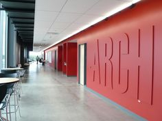 Interior Red Wall Corridor carpet (Images Courtesy Barbara Karant / Karant + Associates, Inc.)
