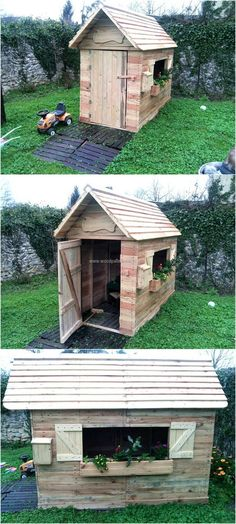 It is better to create a cabin in the lawn for the kids where they can play rather than taking them to the park, so collect the reclaimed wooden pallets and invest some time in making the cabin. Make a safe place for the kids to play at home by making the cabin for them.