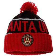 wholesale dealer 2b8ed 49a04 Men s Atlanta United FC Mitchell   Ness Black Red Hi 5 Cuffed Knit Hat with  Pom