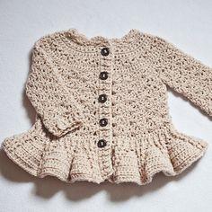 Crochet PATTERN  Soft Wool Peplum Cardigan sizes baby up to