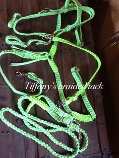 Tack set in lime green paracord with 3 fringe breast collar,  wither stap,  8 foot loop reins , headstall with browband by TiffanysBraidedTack on Etsy
