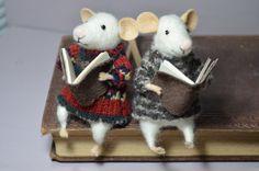 Little Reader Mouse  unique  needle felted by feltingdreams