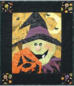 Batty Lou Boo mini quilt by Happy Hollow Designs | Stitch by Number pattern