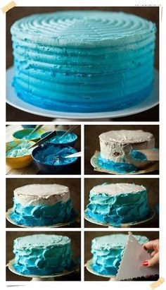 blue ombre cake tutorial For Cristian's smash cake Cake Decorating Techniques, Cake Decorating Tutorials, Cookie Decorating, Pretty Cakes, Cute Cakes, Beautiful Cakes, Cake Icing, Eat Cake, Cupcake Cakes