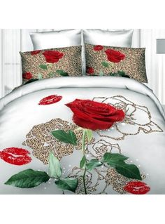 Luxurious Leopard Rose and Red Lips Print 4 Piece Duvet Cover Sets bed & bath inn 3d Bedding Sets, Bedding Sets Online, Comforter Cover, Duvet Cover Sets, Bed Sheet Sets, Bed Sheets, Beautiful Bedding Sets, Fabric Paint Designs, Red And White Roses