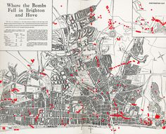 Map showing where bombs landed in Brighton & Hove during World War Two. Image edited from copy in EW Gilbert's 'Old Ocean's Bauble' book and originally used in 2009 War Stories exhibition in Hove Museum. Brighton Map, Brighton Sussex, Brighton England, Brighton And Hove, East Sussex, Maunsell Forts, Primary History, Map Of Britain, Dover Castle