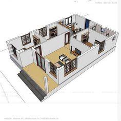 Little House Plans, 3d House Plans, Classic House Design, Simple House Design, Bungalow House Design, House Elevation, Home Fashion, Autocad, Coffee Shop