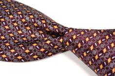 "BRIONI Maroon Geometric Woven Satin 100% Silk Recent Mens Tie XL Long - 3.75"" #Brioni #NeckTie"