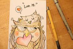 Illustrazioni di Marta De Renzi Cartoline d'amore_owls